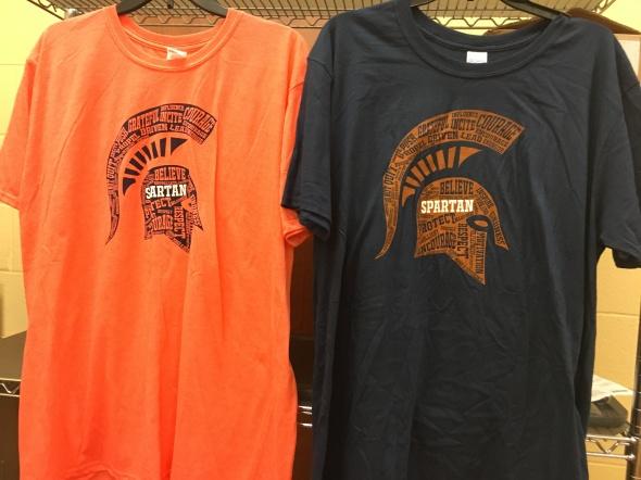 Orange & Navy Spartan Tshirts